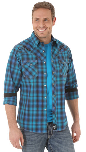 Wrangler Rock 47 Men's Embroidered Yoke Blue Plaid Shirt, Navy, hi-res