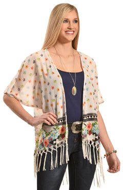 Truly 4 You Ivory Floral Macrame Fringe Kimono, , hi-res