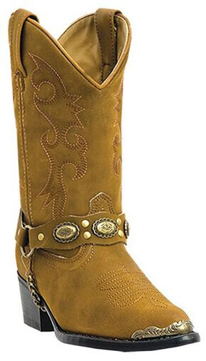 Laredo Youth Boys' Little Concho Cowboy Boots - Round Toe, Brown, hi-res