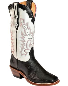Boulet Tamboreado Blanco Cowgirl Boots - Square Toe, Black, hi-res