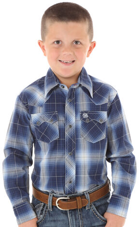 Wrangler Boys' Blue Ombre Plaid Long Sleeve Shirt, Blue, hi-res
