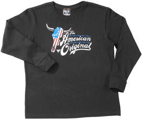 Cowboy Hardware Boys' Black American Original Steer Long Sleeve T-Shirt , Black, hi-res