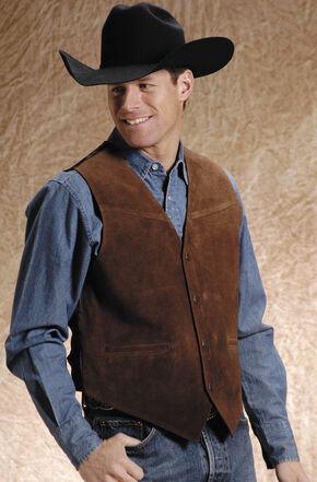 Roper Suede Buckle Tie Vest - Big and Tall, Brown, hi-res