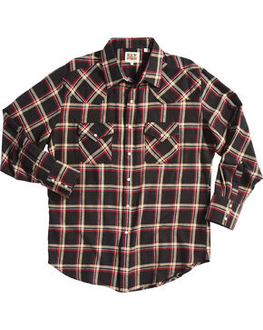 Ely Cattleman Men's Black Western Flannel Shirt , Black, hi-res