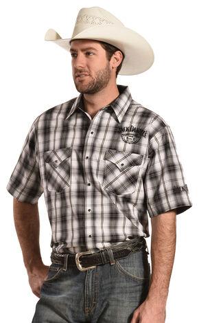 Jack Daniel's Men's Black and White Plaid Short Sleeve Western Shirt , Black, hi-res