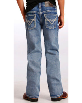 "Rock & Roll Cowboy Boys' Ivory ""V"" Running Stitch Jeans - Boot Cut, Indigo, hi-res"