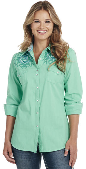 Cowgirl Up Turquoise Long Sleeve Embroidered Shirt, Turquoise, hi-res
