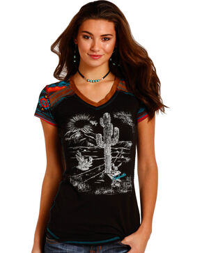 Panhandle Women's Black Suede Trim Cactus Graphic T-Shirt , Black, hi-res
