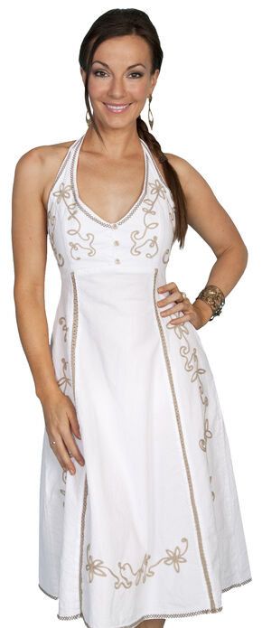 Scully Tie Back Halter Dress, White, hi-res
