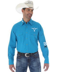 Wrangler Men's 20X Teal and White Print Western Shirt, , hi-res