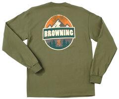 Browning Men's Loden Green Camp Badge Long Sleeve T-Shirt , , hi-res