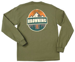 Browning Men's Loden Green Camp Badge Long Sleeve T-Shirt , Loden, hi-res