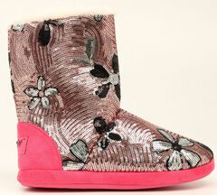 Blazin Roxx Floral Pink Sequin Slipper Booties, , hi-res