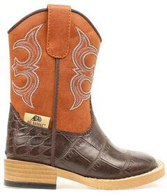 Double Barrel Toddler Boys' Zip Bronc Gator Cowboy Boots - Square Toe, , hi-res
