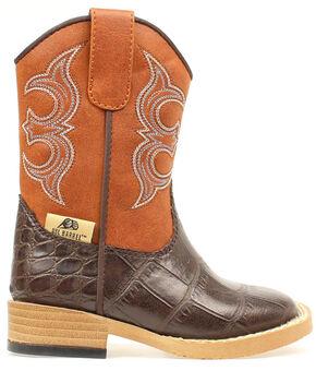 Double Barrel Toddler Boys' Zip Bronc Gator Cowboy Boots - Square Toe, Brown, hi-res
