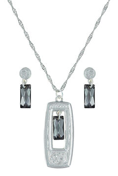 Montana Silversmiths Elegant Smoky Looking Glass Jewelry Set  , Silver, hi-res