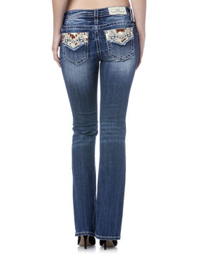 Miss Me Women's Blue Cowhide Flap Jeans - Boot Cut , Blue, hi-res
