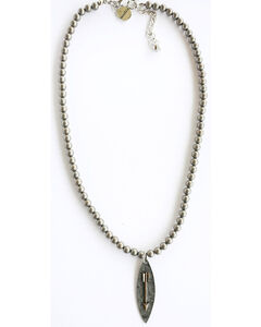 West & Co. Women's Burnished Silver Arrow Charm Necklace, Silver, hi-res