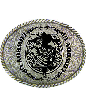 Montana Silversmiths 'Cowboy Up' Belt Buckle, Silver, hi-res
