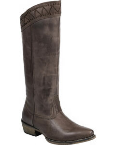 "Roper Brown Embroidered 15"" Cowgirl Boots - Snip Toe , , hi-res"