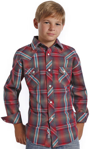 Rock and Roll Cowboy Boys' Ombre Red Plaid Western Shirt , Red, hi-res