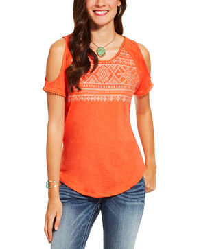Ariat Women's Coral Cold Shoulder Lexi Top, Coral, hi-res