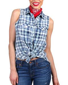 Shyanne Women's Distressed Plaid Sleeveless Western Shirt, , hi-res
