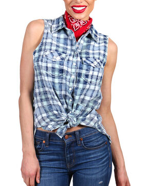 Shyanne Women's Distressed Plaid Sleeveless Western Shirt, Blue, hi-res