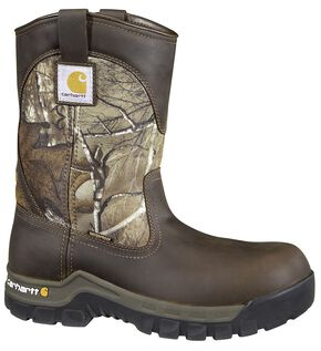 Carhartt Waterproof Camo Pull-On Wellington Work Boots - Composition Toe, Brown, hi-res