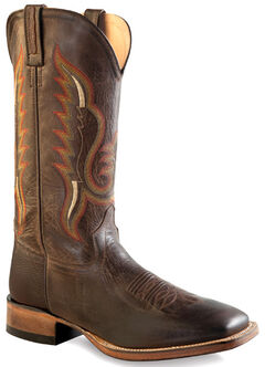 Old West Men's Distressed Brown Cowboy Boots - Square Toe , , hi-res