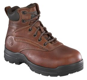 """Rockport Women's More Energy Deer Tan 6"""" Lace-Up Work Boots - Composition Toe, Brown, hi-res"""