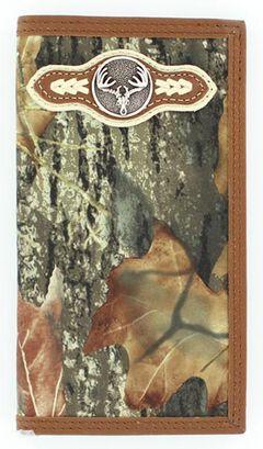 Nocona Mossy Oak Camo Deer Skull Concho Rodeo Wallet, , hi-res