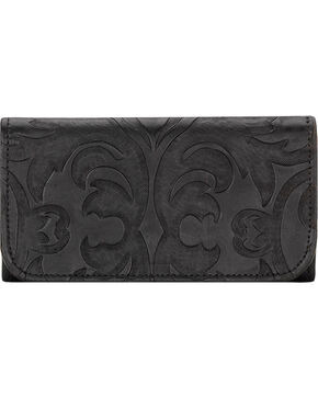 American West Black Baroque Tri-Fold Wallet , Black, hi-res