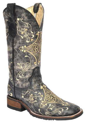 Corral Black Crackle Embroidered  Cowgirl Boots - Square Toe , Black, hi-res