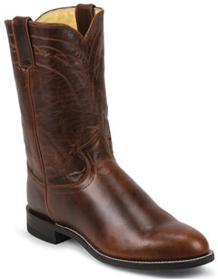 Justin Dark Brown Roper Cowboy Boots - Round Toe , , hi-res
