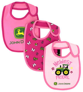 John Deere Infant Girls' Pink Newest Model Bib Set , Pink, hi-res