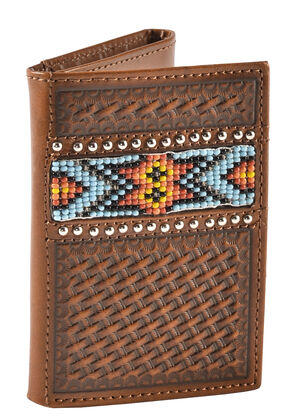 Nocona Beaded Aztec Basketweave Tri-fold Wallet, Natural, hi-res