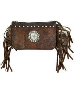 Savana Women's Brown Tooled Crossbody/Wristlet with Fringe, , hi-res