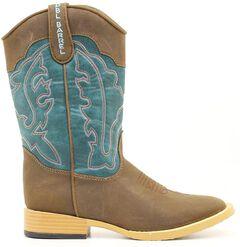 Double Barrel Boys' Open Range Side Zipper Cowboy Boots - Square Toe, , hi-res