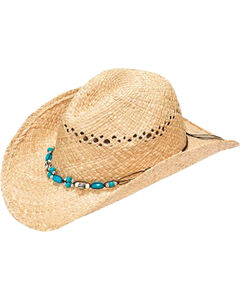 Blazin Roxx Women's Crystal & Turquoise Beaded Raffia Straw Hat, , hi-res