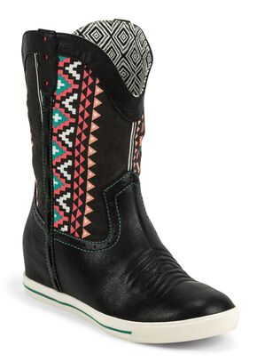 Justin Gypsy Dust Striped Cowgirl Boots - Round Toe, Black, hi-res