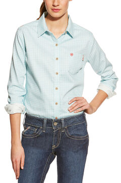 Ariat Women's Fire-Resistant Aqua Tioga Plaid Long Sleeve Work Shirt, , hi-res