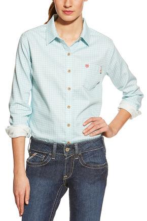 Ariat Women's Fire-Resistant Aqua Tioga Plaid Long Sleeve Work Shirt, Aqua, hi-res