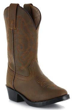Cody James Children's Brown Western Boots  - Round Toe, , hi-res