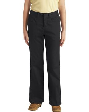 Dickies Girls' Stretch Bootcut Pants - 7-14, Black, hi-res