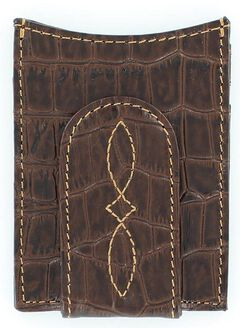 Nocona Croc Print Money Clip Wallet, , hi-res