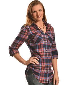 Derek Heart Women's Dreamcatcher Print Navy Plaid Tunic, , hi-res