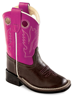 Old West Toddler Girls' Purple Western Cowboy Boots - Square Toe, Brown, hi-res