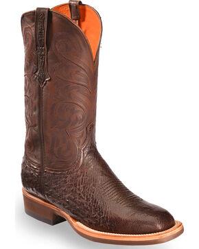 Lucchese Men's Dark Brown Lance Smooth Ostrich Boots - Square Toe , Dark Brown, hi-res