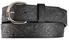Silvercreek Black Hand Tooled Western Belt, , hi-res